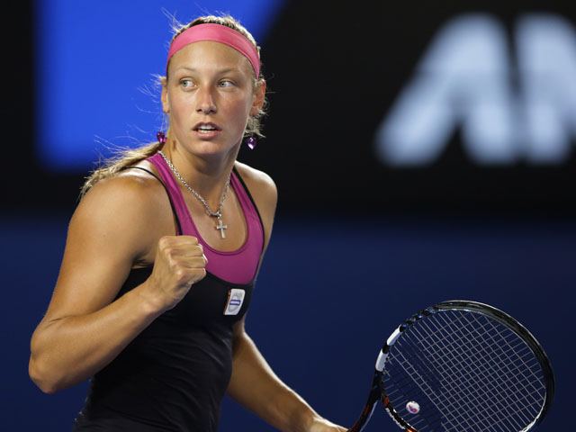 Yanina Wickmayer from Belgium celebrates winning a point against Jarmila Gajdosova at the Australian Open tennis championship on January 15, 2013