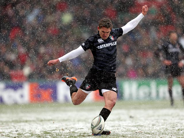 Leicester Tiger's Toby Flood takes a penalty during the Heineken Cup match against Toulouse on January 20, 2012