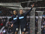 Blackburn Rovers player Jordan Rhodes celebrates scoring in his sides match against Derby County on January 26, 2013