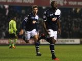 Millwall defender Danny Shittu celebrates his goal against Aston Villa on January 25, 2013