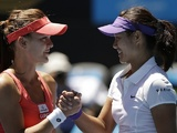Li Na and Agnieszka Radwanska shake hands following their Australian Open quarter-final on January 22, 2013