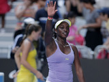 Sloane Stephens celebrates after winning her fourth round match at the Australian Open tennis championship on January 21, 2013