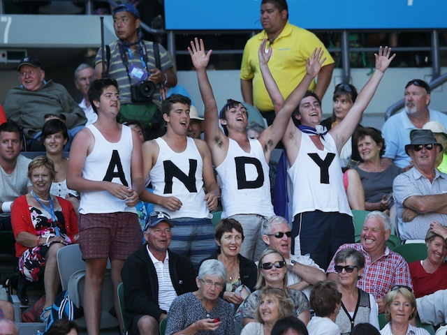 Supporters of Andy Murray celebrate after he takes the first set against Jeremy Chardy on January 23, 2013