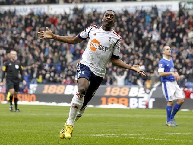 Bolton Wanderers' Marvin Sordell celebrates scoring for his side in their match against Everton on January 26, 2013