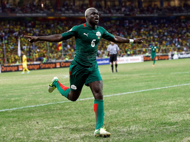 Burkina Faso's Djakaridja Kone celebrates against Ethiopia on January 25, 2013