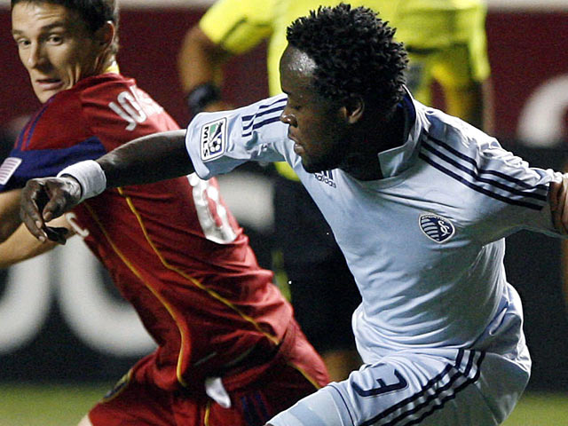 Sporting Kansas City striker Kei Kamara in action on September 17, 2011