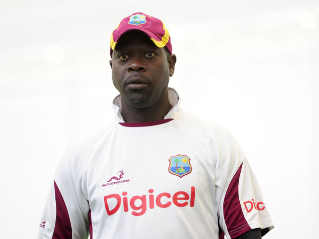 West Indies coach Ottis Gibson during a training session on May 15, 2012