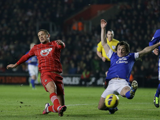 Southampton's Gaston shoots at goal during his sides match with Everton on January 21, 2013