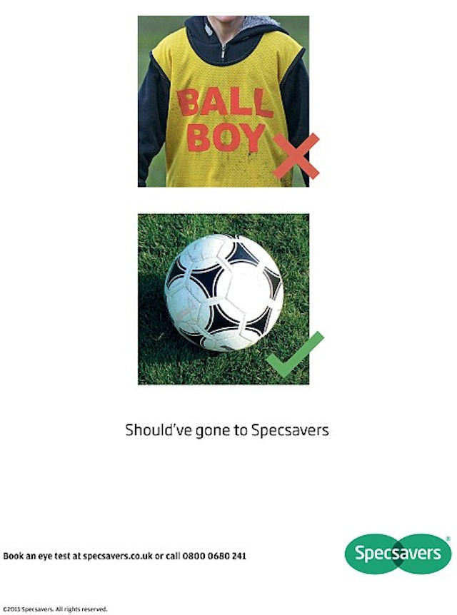 Specsavers advert mocking the ball boy incident on January 25, 2013