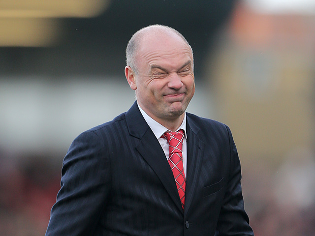 Brentford manager Uwe Rosler pulls a face after the final whistle as his team draw with Chelsea in their FA Cup fourth round match on Janaury 27, 2013