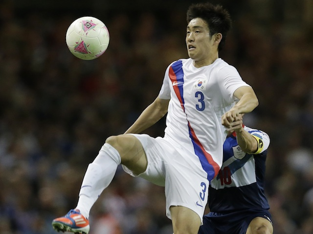 South Korea's Yun Suk-Young in action against Team GB at London 2012 on August 4, 2012