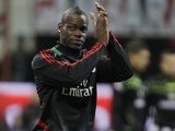 New AC Milan signing Mario Balotelli warms up prior to his side's match with Udinese on February 3, 2013