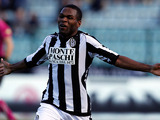 Siena's Innocent Emeghara celebrates scoring the opener against Inter on February 3, 2013