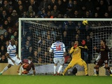 City defender Pablo Zabaleta misses a good chance against QPR on January 29, 2013