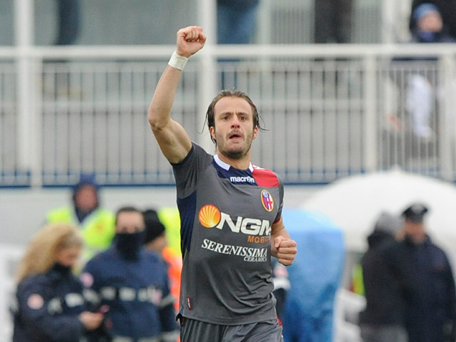 Bologna's Alberto Gilardino celebrates after scoring his team's second against Pescara on February 3, 2013