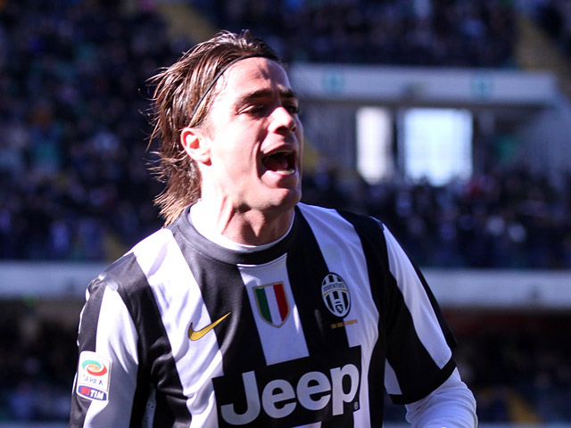 Juventus' Alessandro Matri celebrates scoring the opening goal against Chievo Verona on February 3, 2013