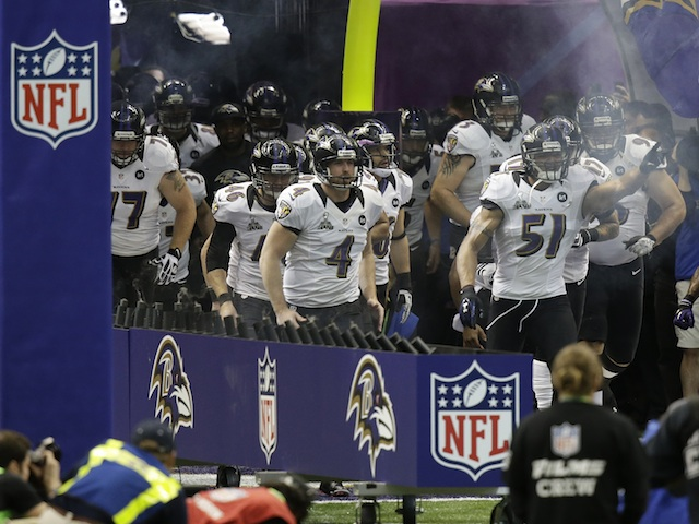 Baltimore Ravens take to field at the Superbowl on February 3, 2013