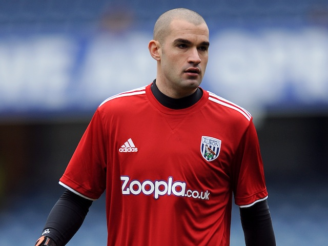 Baggies goalie Boaz Myhill warming up before the game with QPR on January 5, 2013