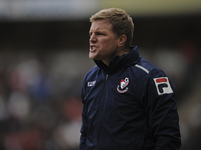Bournemouth boss Eddie Howe on the touchline at MK Dons on February 2, 2013