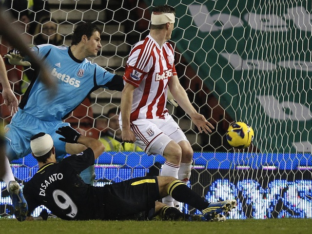 Wigan's Franco Di Santo scores the equaliser at Stoke on January 29, 2013