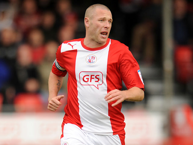Crawley Twon player Gary Alexander in action during his team's match with Bury on October 13, 2012