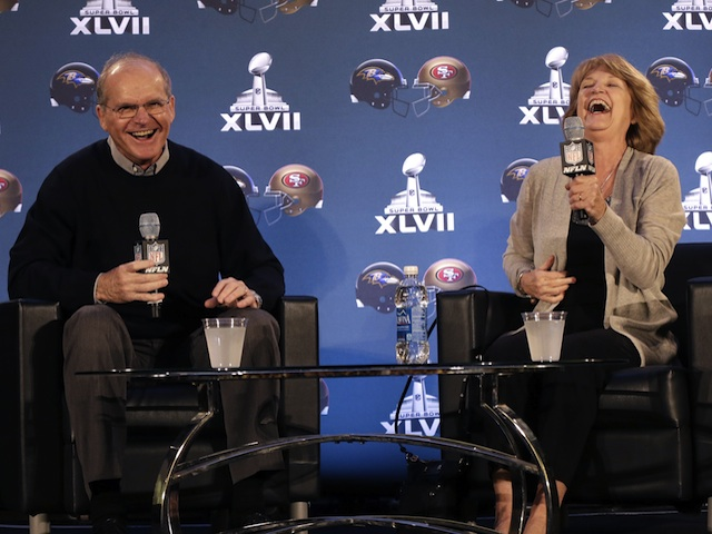 'Superbowl Parents' Jack and Jackie Harbaugh takes questions from the media on January 30, 2013