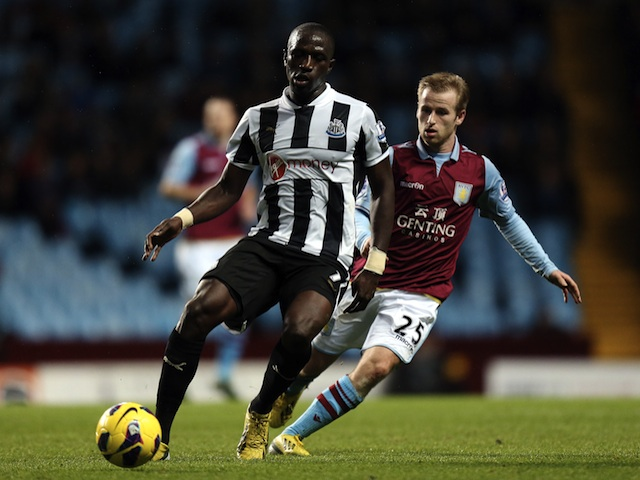 Newcastle's new signing Moussa Sissoko shields the ball from Barry Bannan of Aston Villa on January 29, 2013