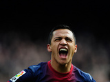 Barcelona's Alexis Sanchez celebrates scoring the opening goal against Getafe on February 10, 2013