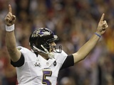 Ravens QB Joe Flacco celebrates