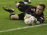 Borussia Moenchengladbach 'keeper Marc-Andre ter Stegen in action against Bayern on December 14, 2012