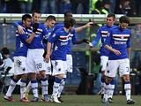 Sampdoria players celebrate a goal against Roma on February 10, 2013