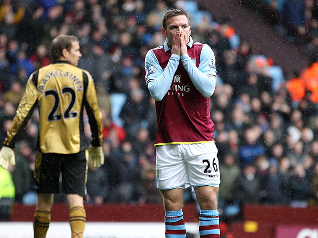 Andreas Weimann moments after missing the target against West Ham on February 10, 2013
