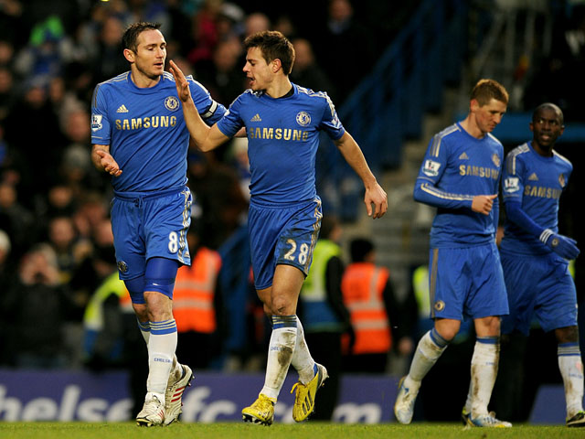 Chelsea's Frank Lampard is congratulated after scoring against Wigan on February 9, 2013