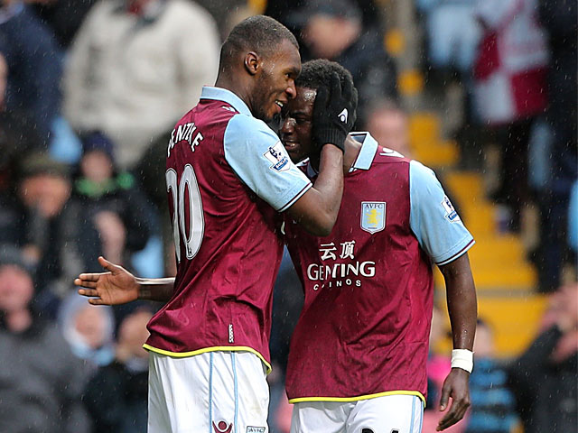 Christian Benteke is congratulated by team mate Simon Dawkins after scoring the opener against West Ham on February 10, 2013