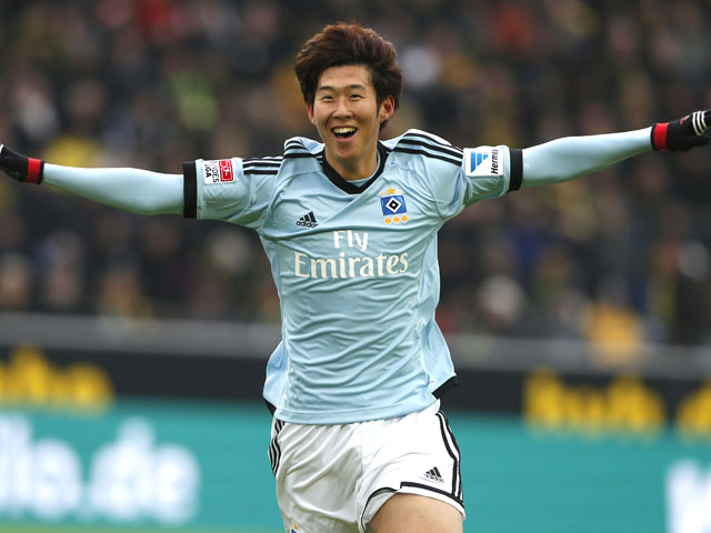 Hamburg's Son Heung-min celebrates after scoring in his side's match against Dortmund on February 9, 2013