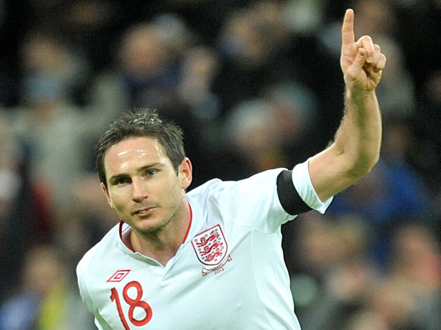 England's Frank Lampard celebrates after scoring against Brazil on February 6, 2013