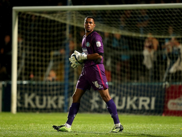 Wycombe's Jordan Archer in action against Plymouth on October 2, 2012