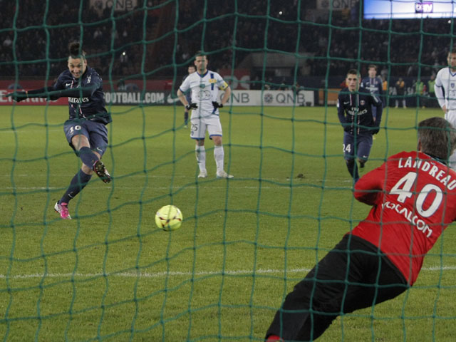 Paris Saint Germain's forward Zlatan Ibrahimovic scores from the penalty spot in his side's match against Bastia on February 8, 2013