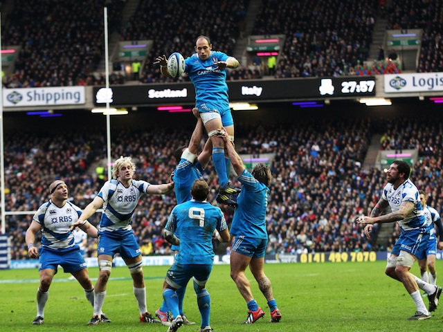 Italy's Sergio Parisse wins a line-out against Scotland on February 9, 2013