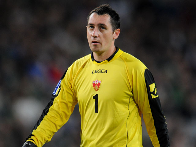 Montenegro goalkeeper Vukasin Poleksic on October 10, 2009