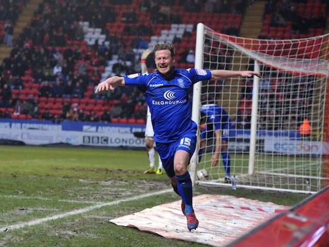 Birmingham midfielder Wade Elliott celebrates a late leveller against Charlton on February 9, 2013