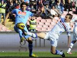 Napoli's Edinson Cavani and Sampdoria's Daniele Gastaldello battle for the ball on February 17, 2013