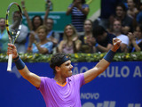 Spaniard Rafael Nadal celebrates winning the Brazil Open ATP tournament after defeating David Nalbandian on February 17, 2013