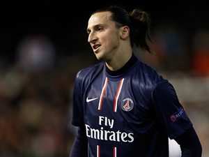 Paris Saint-Germain's Zlatan Ibrahimovic moments after being shown a straight red card in the Champions League match against Valencia on February 12, 2013