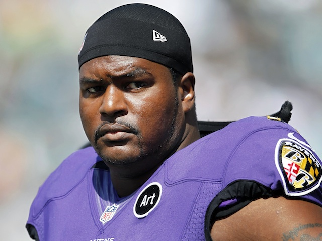 Ravens' tackle Bryant McKinnie in action against the Eagles on September 16, 2012