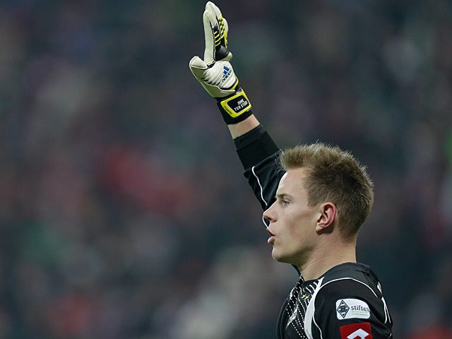 Moenchengladbach goalkeeper Marc-Andre ter Stegen in action on December 14, 2012