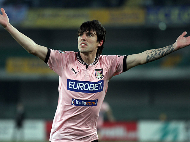 Palermo's Mauro Abel Formica celebrates scoring the opening goal against Chievo Verona on February 16, 2013
