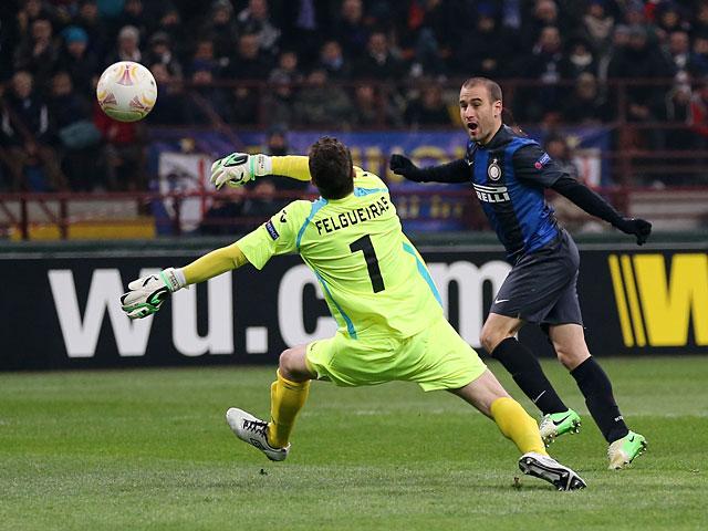 Inter's Rodrigo Palacio scores the opener in the Europa League match against CFR Cluj on February 14, 2013