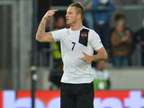 Austria's Marko Arnautovic celebrates after scoring for his side against Ukraine on June 1, 2012