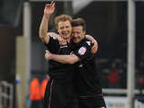 Birmingham City's Chris Burke celebrates after scoring his side's second goal against Peterborough on February 23, 2013